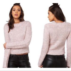JOA pink silver tinsel sweater XS revolve